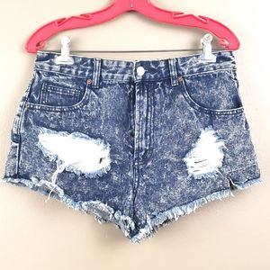 Pants - Distressed Denim Shorts x Forever 21